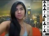 Perfekt tonåring från Colombia visar sig i webcam